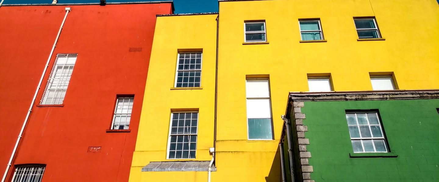 Yellow, orange & green building